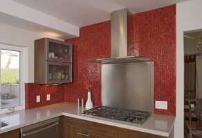 Tessara mosaic - Red non iridescent 25x25mm