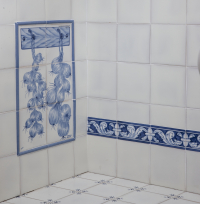 Portuguese white tiles and vegetable panel