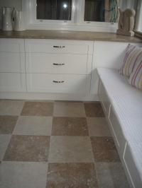 Noce & Taupe travertine chequerboard floor