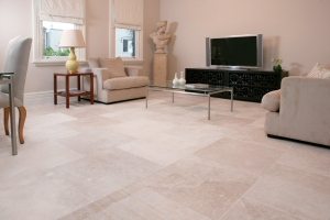 Taupe travertine floor