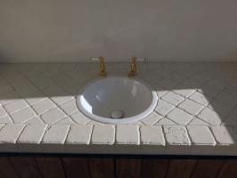 Biancone cobblestone vanity