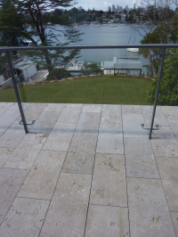 Noce travertine balcony