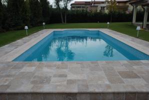 Italian Dark travertine tumbled modular pattern