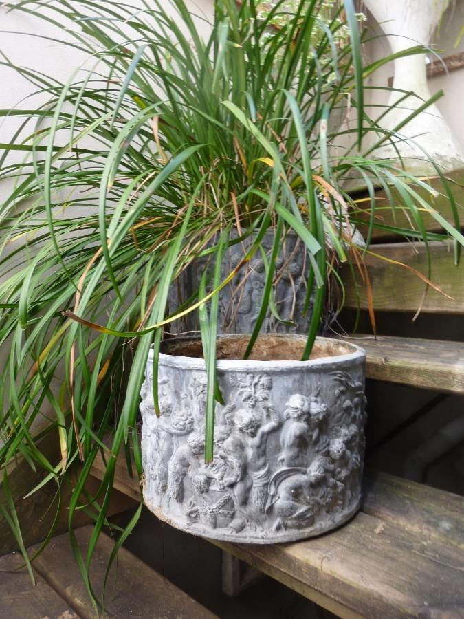 Pair of  English Lead Planter Urns