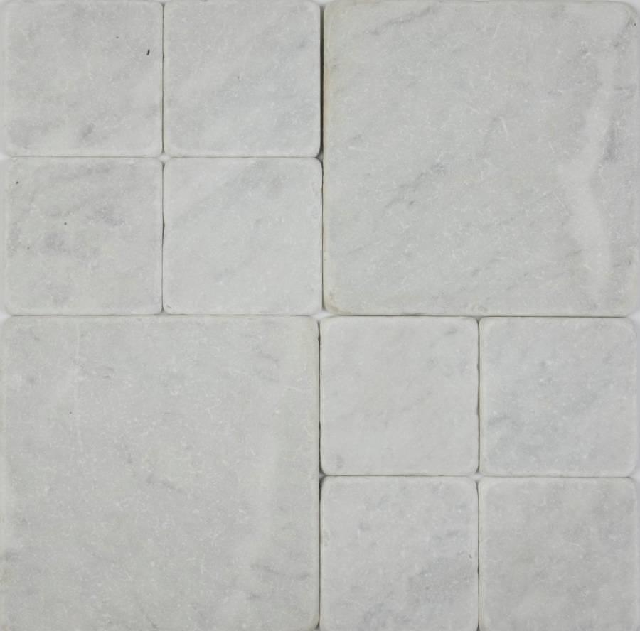 Bianca Carrara tumbled marble cobblestones