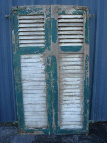 Pair French Shutters, Green/White