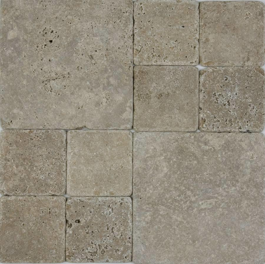 Dark Travertine tumbled cobblestones