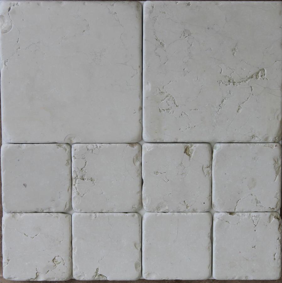 Biancone tumbled marble cobblestones