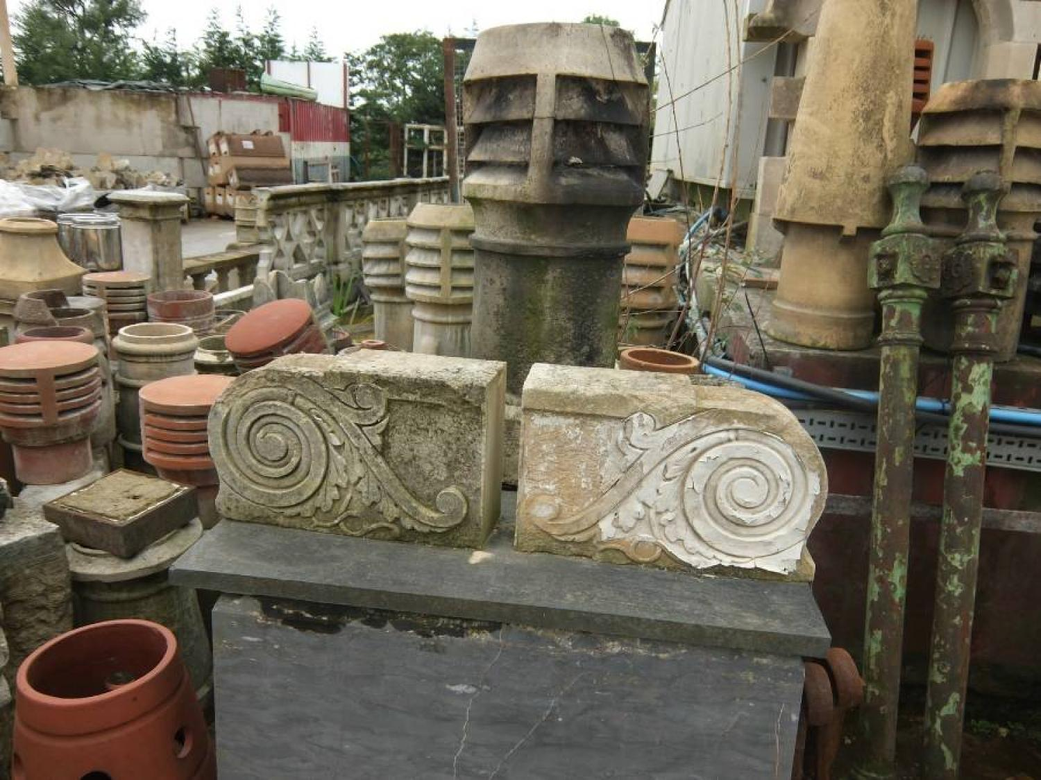 Pair of English Carved Stone Corbels