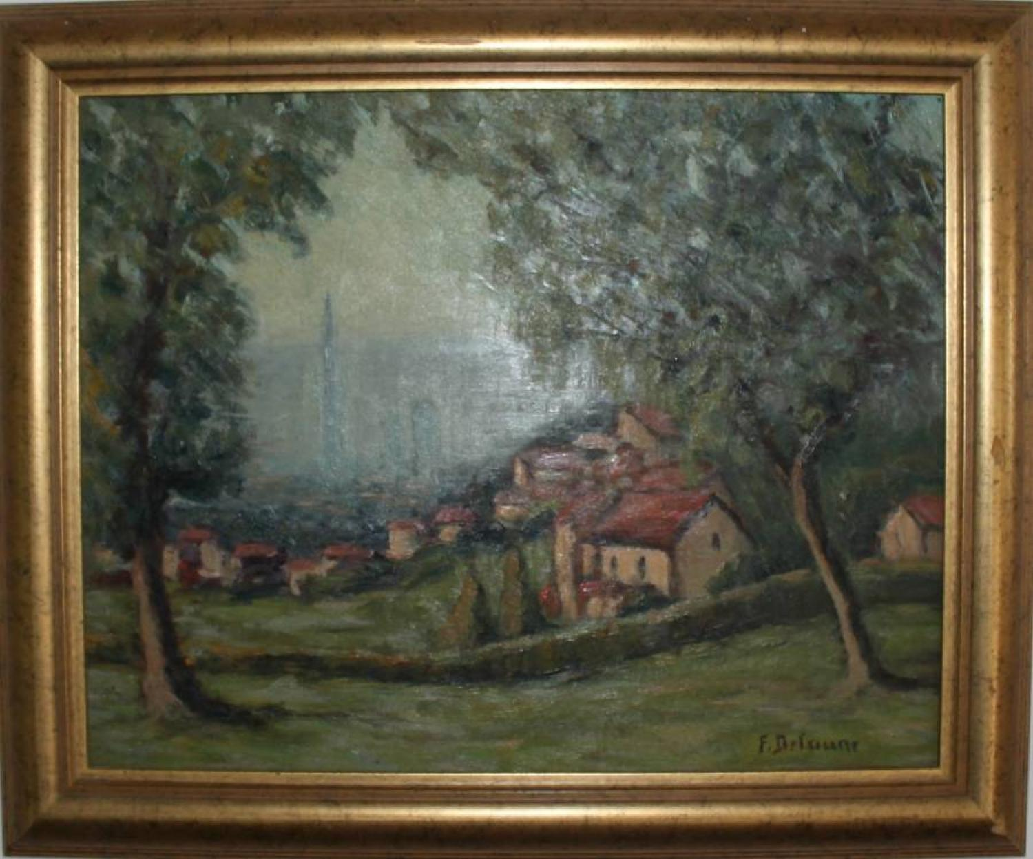 Oil on Board - Countryside Near Rouen