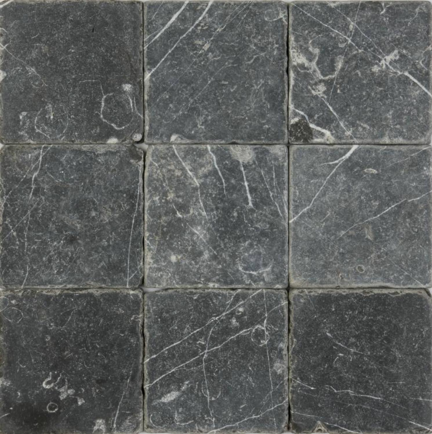 Black tumbled marble cobblestones