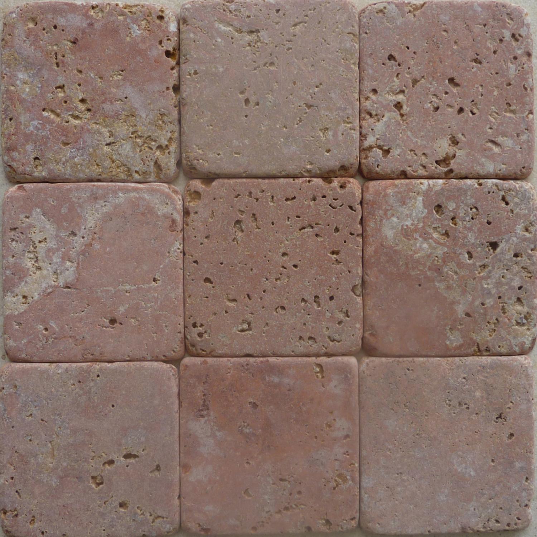 Rosso Persia tumbled marble cobblestones