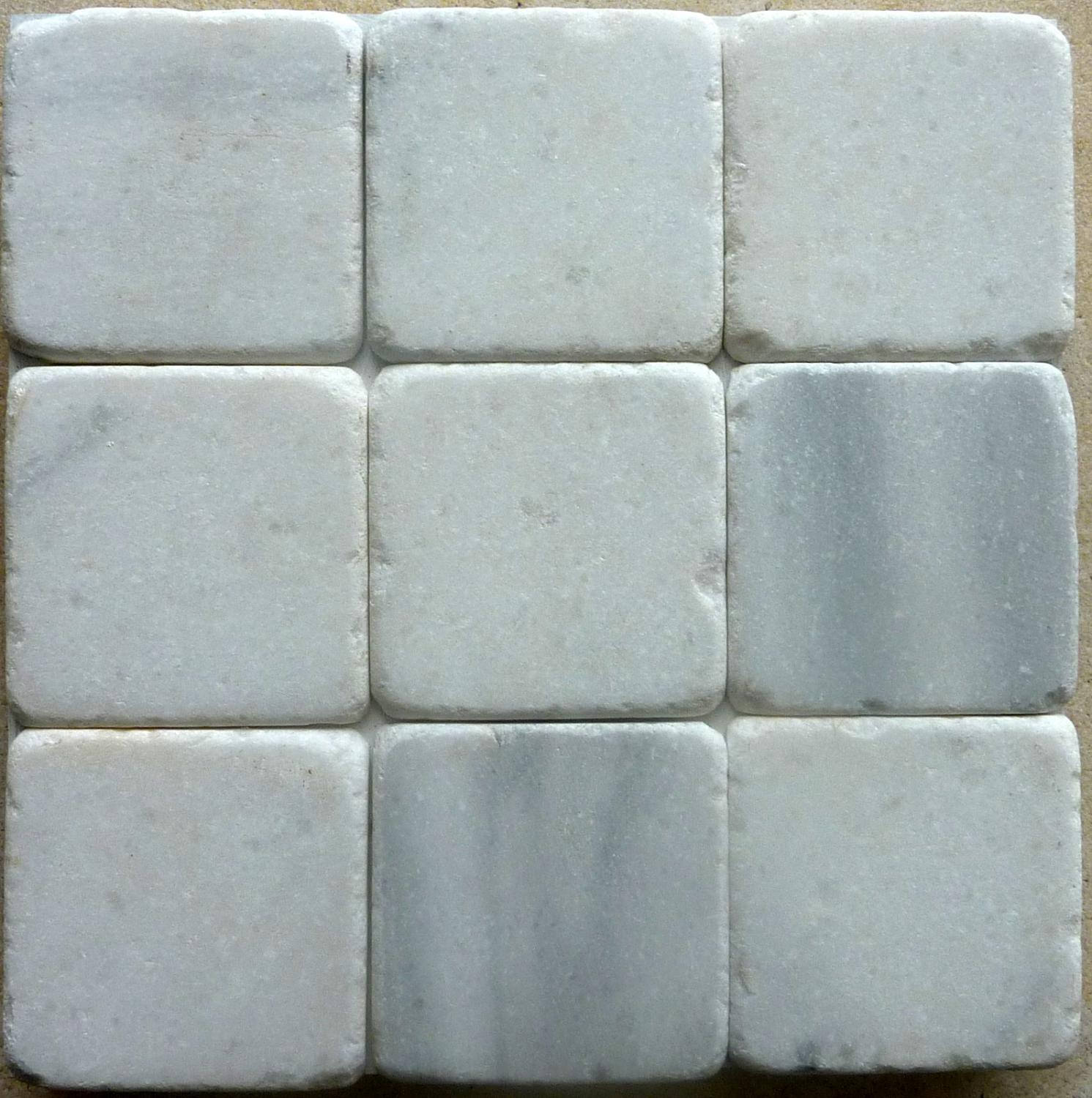 White Star tumbled marble cobblestones