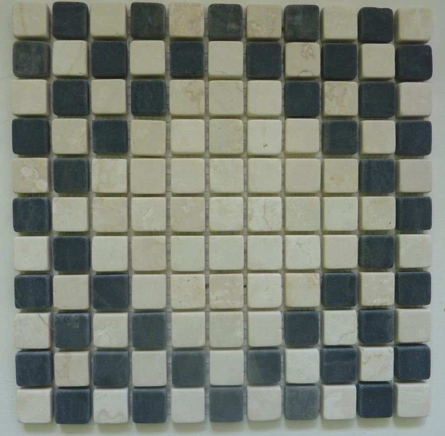 Nero/Botticino diamond mosaic 300x300mm