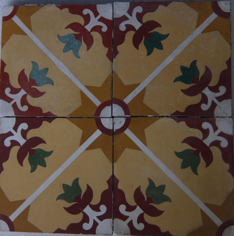 Green Tulip Reclaimed Encaustic Tile