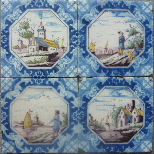 Reclaimed Polychrome Delft tiles