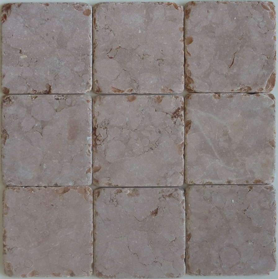 Rosso Verona tumbled marble cobblestones