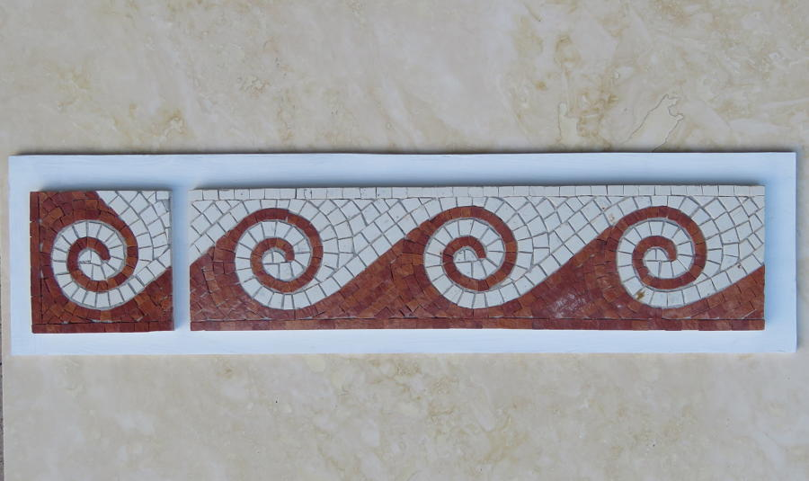 Red Scroll mosaic and corner