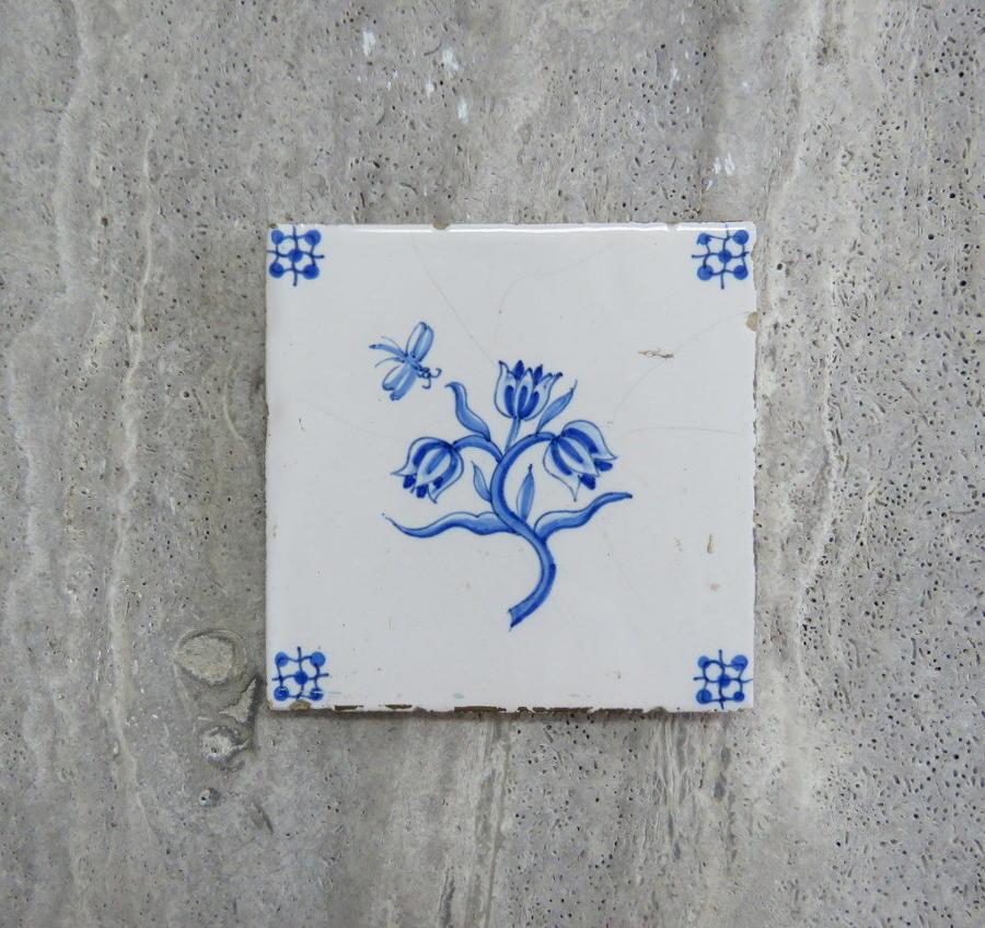Reclaimed Delft dragonfly & flower tile, circa 1740