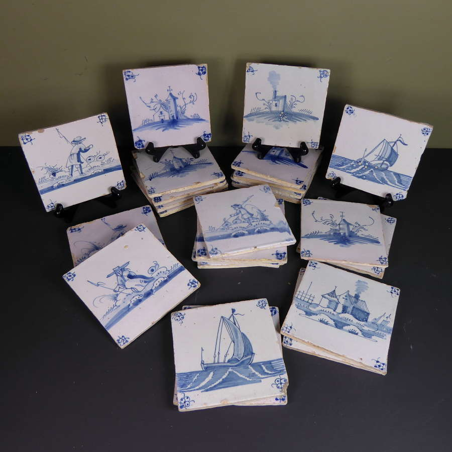 Set of 25 Eighteenth Century Delft tiles