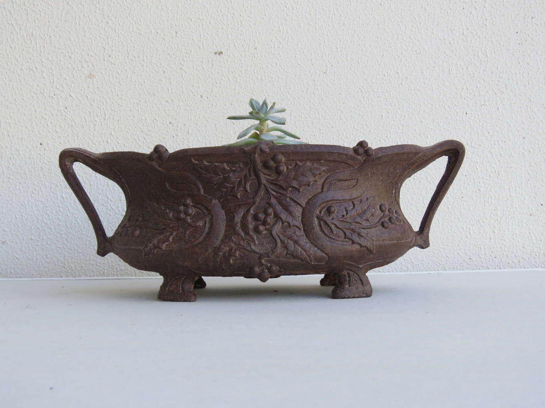 Small cast iron garden planter