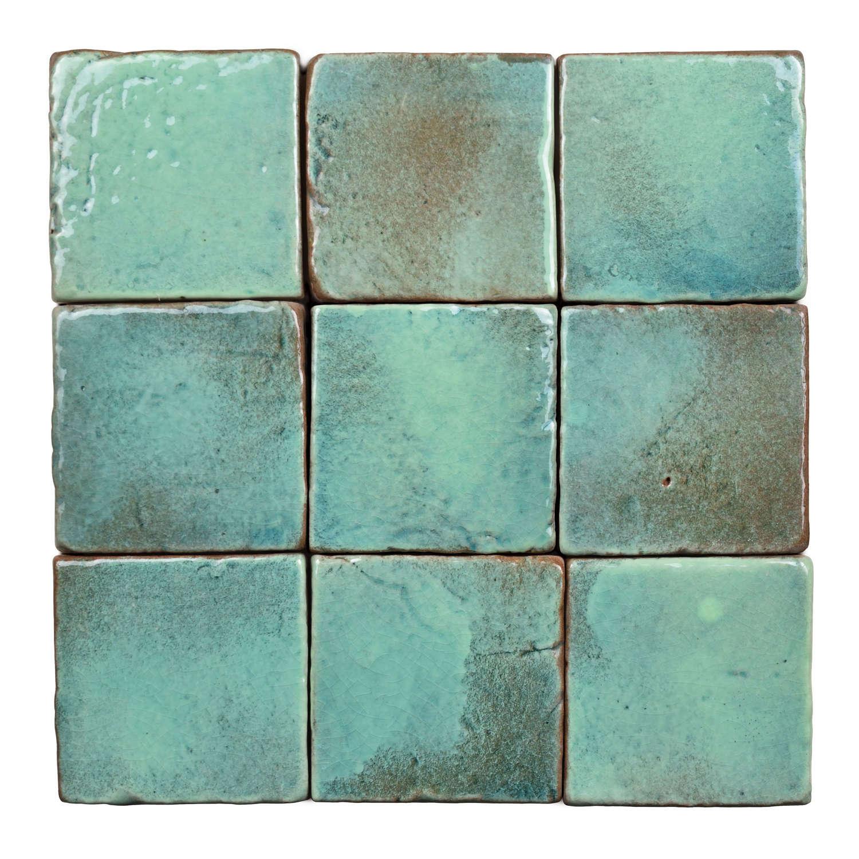 Aqua glazed terracotta